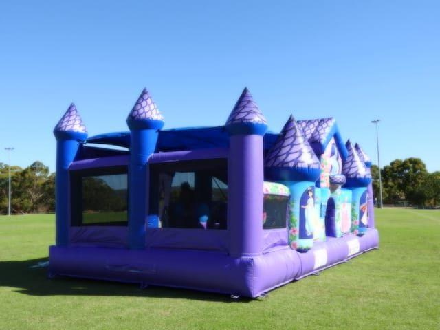 Princess jumping castle at a 45 degrees angle