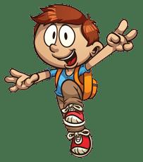Caetoon boy jumping in the air