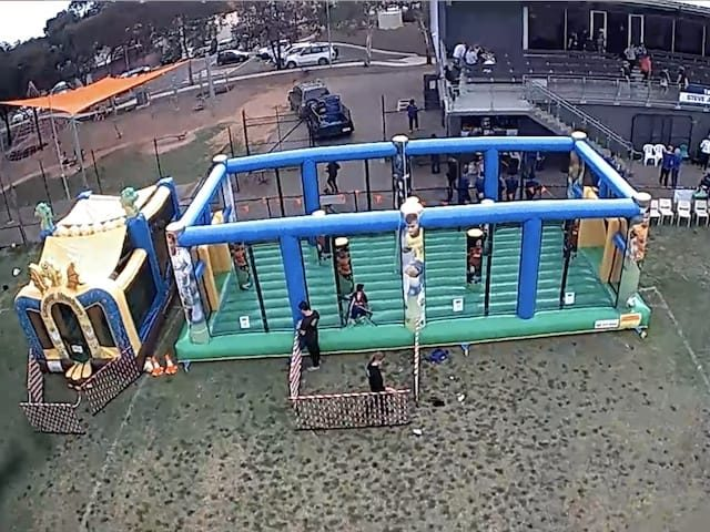 Inflatable soccer pitch aerial view