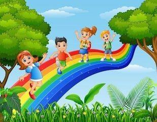 4 kids on a rainbow